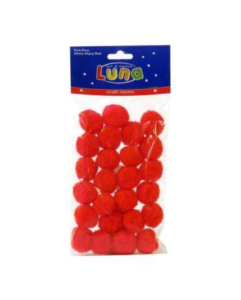 Pon Pon Luna kokkina 25mm 25tem tetragono2