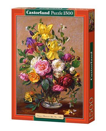puzzle summer flowers is a glass vase castorland tetragono