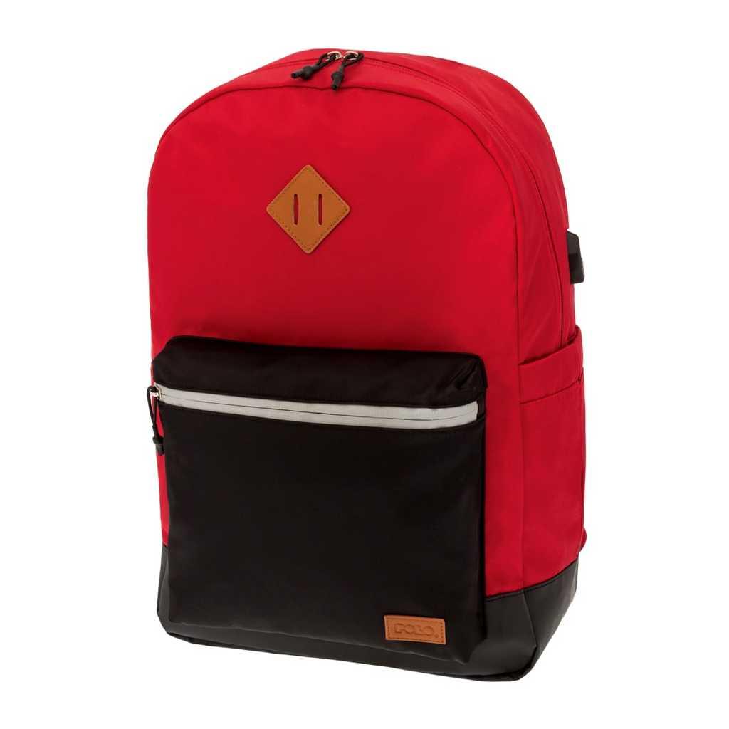 53177105187 Τσάντα POLO Reflective Κόκκινο-Μαύρο 9-01-244-03- Βιβλιοπωλείο Τετράγωνο