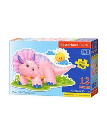 puzzle castorland 120048 pink baby triceratops tetragono 1