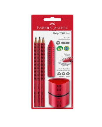 pencil set faber castell grip 2001 kokkino tetragono