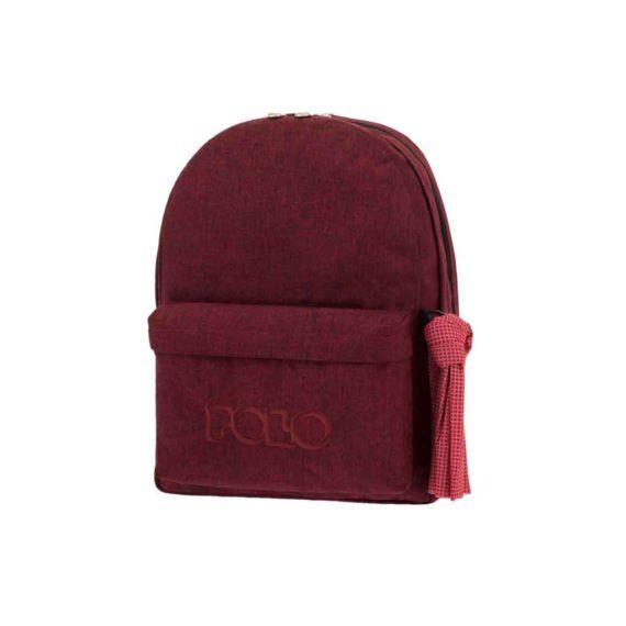 Τσάντα POLO 2 θήκες Jean Style Μπορντώ 9-01-235-81 2019