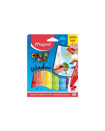 Μαρκαδόροι για Γυαλί MAPED- Σετ 6 χρωμάτων + Πανί 844820