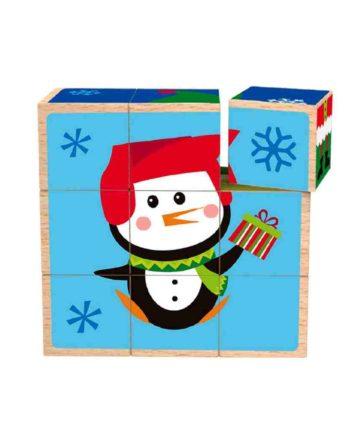 Ξύλινοι Χριστουγεννιάτικοι Κύβοι Puzzle TOOKY TOY TY296