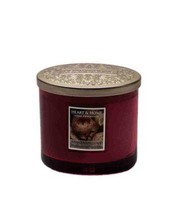 Αρωματικό Κερί Διπλό Φυτίλι HEART & HOME Ανθισμένο Oud 230gr 276260333
