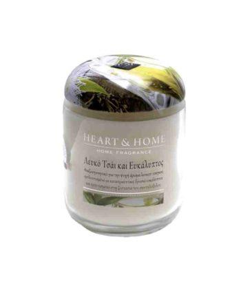 Αρωματικό Κερί HEART & HOME Λευκό Τσάι και Ευκάλυπτος 115gr (Μεσαίο) 275010331