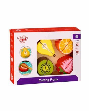 Ξύλινα Σφηνώματα σε Δίσκο Κοπής - Φρούτα TOOKY TOY TL142