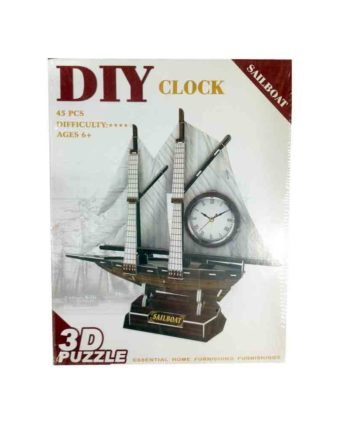 3d puzzle build my world sailboat clock tetragono 2